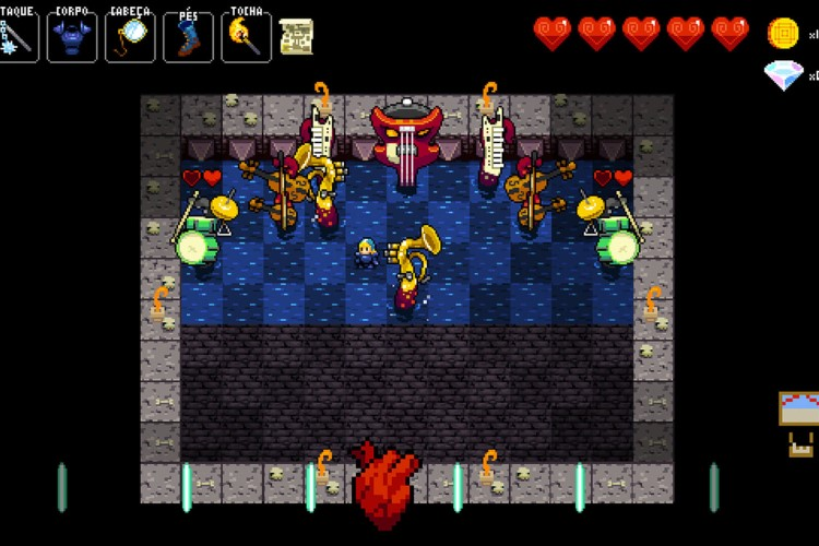 Screenshot do jogo Crypt of the NecroDancer.