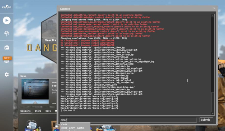 Screenshot da janela de console do CS.