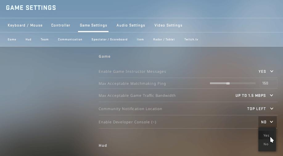 Janela de configurações do CS:GO.