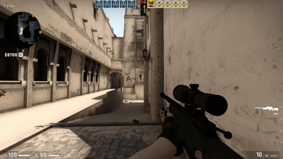 Screenshot de uma partida de CS.