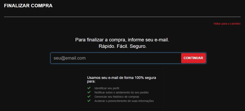Tela para preencher e-mail no processo de compra do site da Shopinfo.
