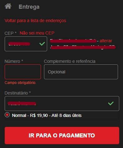 Tela para preencher dados de entrega no processo de compra do site da Shopinfo.