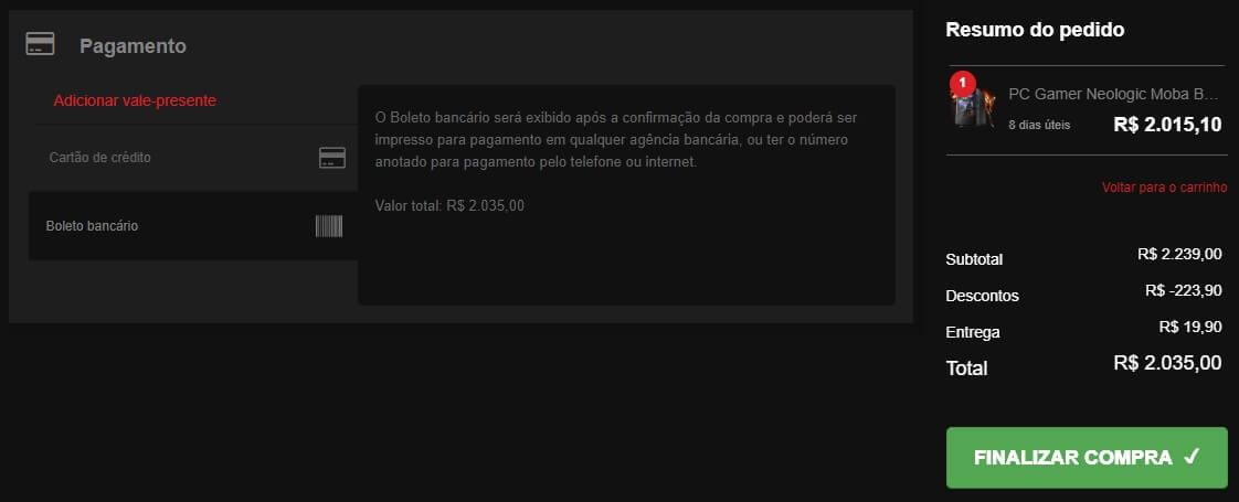Tela da escolha da forma de pagamento no site da Shopinfo.