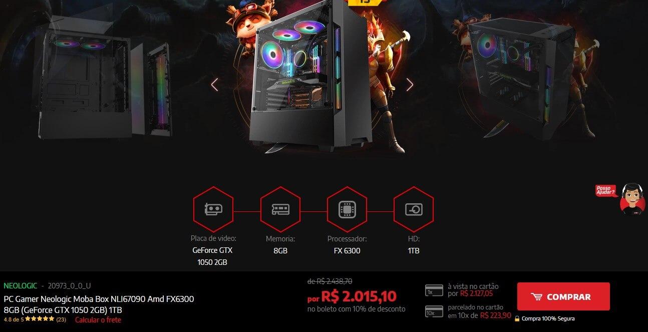 Escolha de produto no site da Shopinfo.