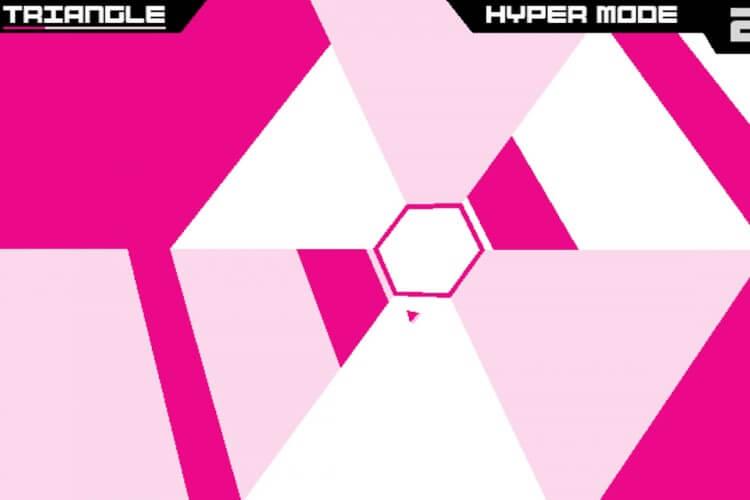 Screenshot do jogo Super Hexagon.
