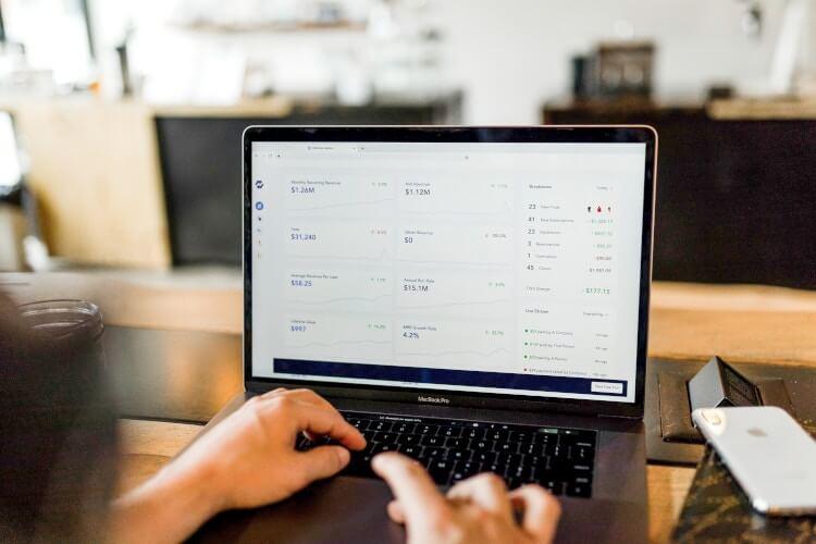 Pessoa fazendo pesquisas em um laptop.