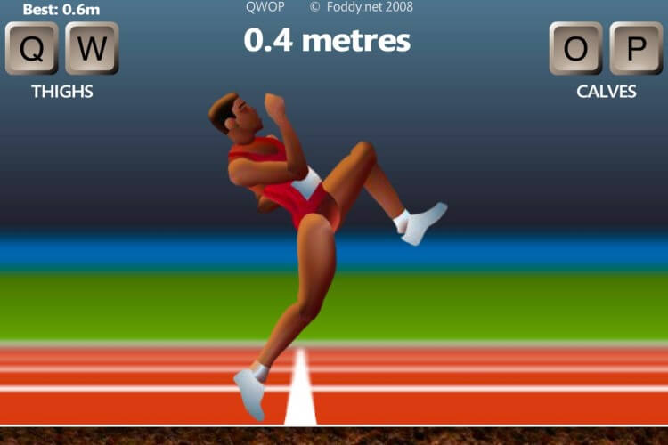 Screenshot do jogo QWOP.