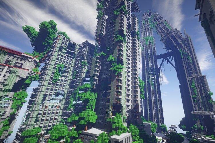 Construções no Minecraft.