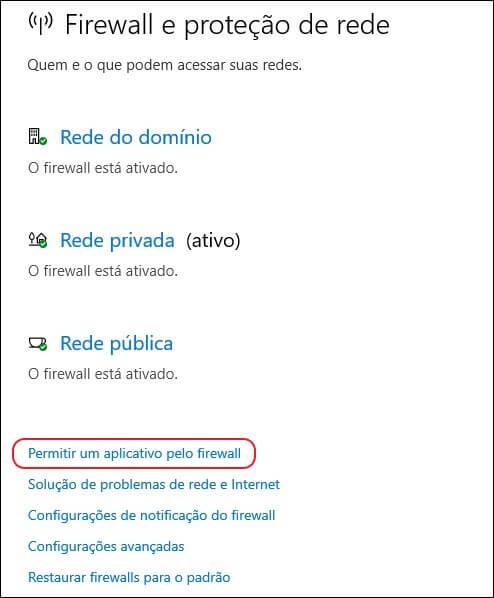 Janela de configurações de firewall do Windows.