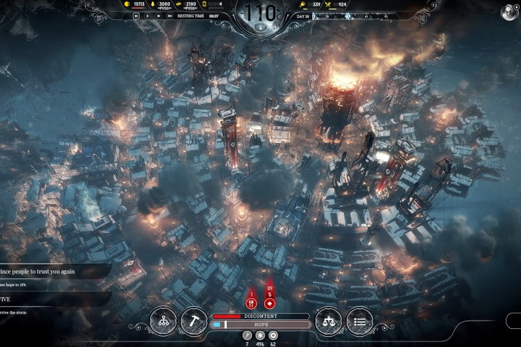 Screenshot do jogo Frostpunk.