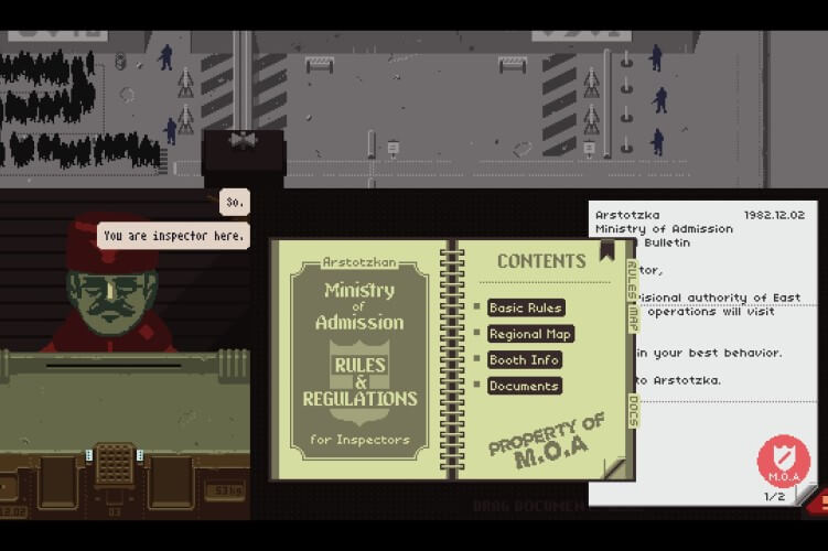 Screenshot do jogo Papers, Please.