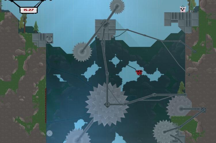 Screenshot do jogo Super Meat Boy.