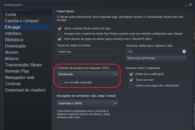 Contador de quadros por segundo (FPS) nas opções da Steam.