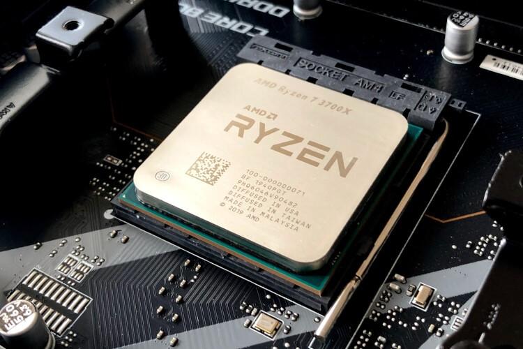 CPU Ryzen instalado na placa-mãe.