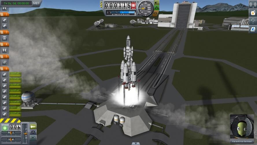 Screenshot do jogo Kerbal Space Program.