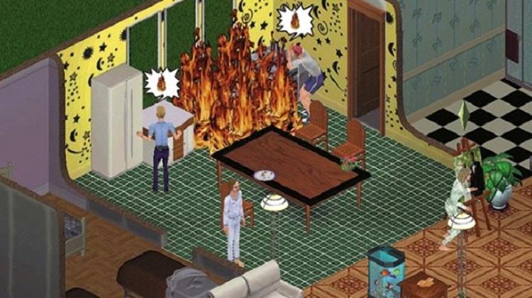 Print do jogo The sims 1. Gráficos bem fracos. É visível uma coxinha pegando fogo.