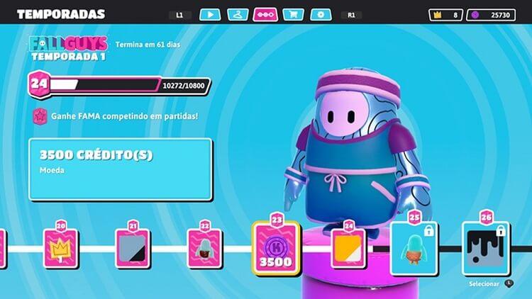 tela de fall guys para customização da jujuba