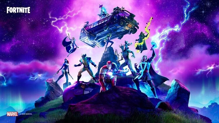 Personagens de Fortnite com um fundo de coloração roxa.