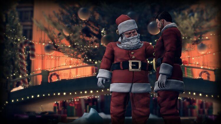 Papai Noel frente a uma árvore de natal com o braço em cima de outro homem.