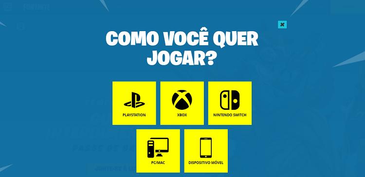 Tela do Fortnite para escolher qual plataforma jogar.