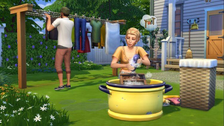 Frame de The Sims. Mulher lavando roupa e homem pendurando.