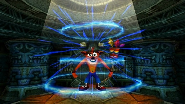 Crash entrando em uma fase no jogo 2.