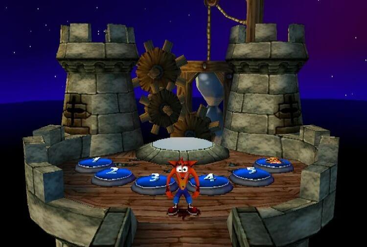 Crash no jogo três escolhendo uma fase.