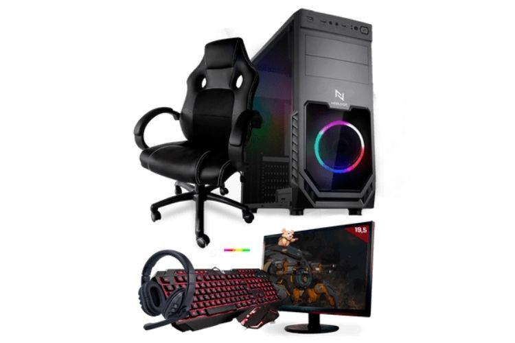 Setup gamer completo na cor preta.