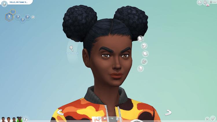Imagem de um sims negro com cabelo estiloso.